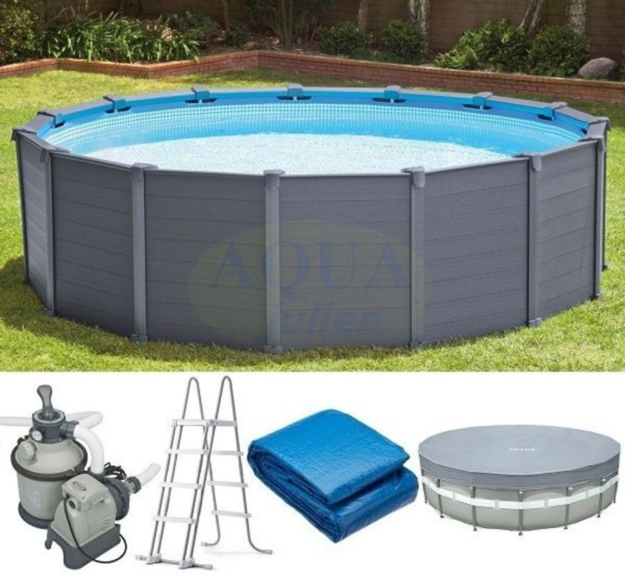 Piscine r sine graphite grise anthracite for Piscine hors sol gris anthracite
