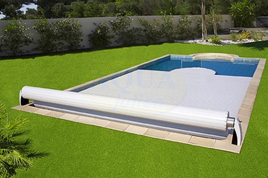 Volet roulant piscine auto luxe avec tablier 6x3m for Piscine avec volet roulant